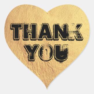 Adesivo Coração Obrigado corajoso do coração do ouro você