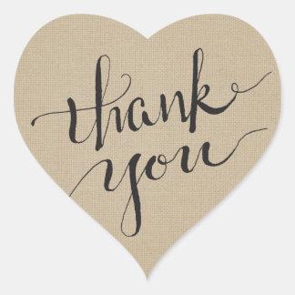Adesivo Coração Obrigado da tinta você no linho liso