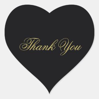 Adesivo Coração Obrigado elegante do monograma do preto e do ouro