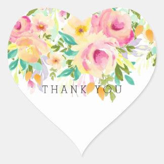 Adesivo Coração Obrigado floral da aguarela cor-de-rosa e amarela