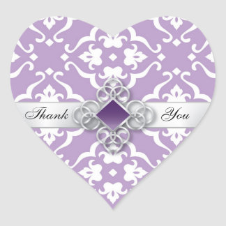 Adesivo Coração Obrigado floral do casamento tema damasco da