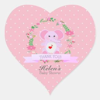 Adesivo Coração Obrigado floral do elefante cor-de-rosa você