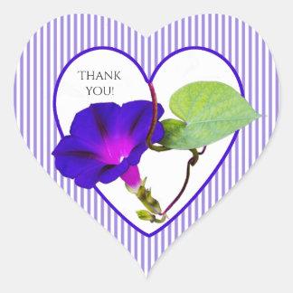 """Adesivo Coração """"Obrigado"""" fotografia floral da corriola"""