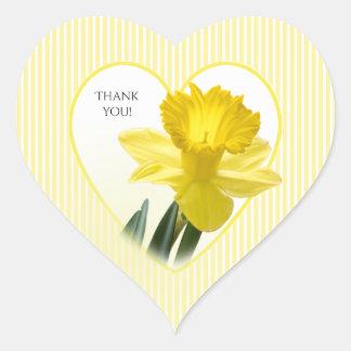 """Adesivo Coração """"Obrigado"""" fotografia floral do Daffodil amarelo"""