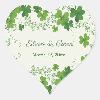 Adesivo Coração Obrigado irlandês do casamento do trevo você