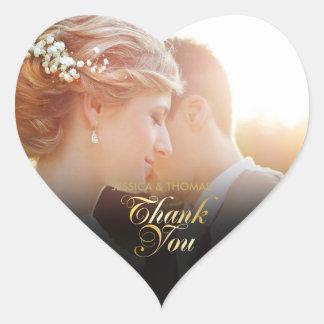 Adesivo Coração Obrigado personalizado do roteiro do ouro da foto