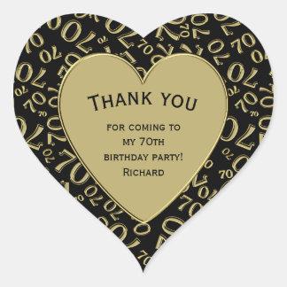 Adesivo Coração Obrigado - preto do aniversário do 70 e coração do