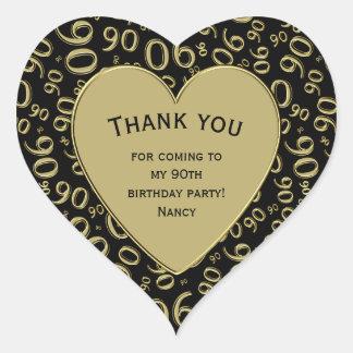 Adesivo Coração Obrigado - preto do aniversário do 90 e coração do