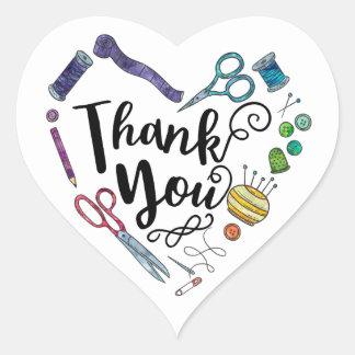 Adesivo Coração Obrigado Sewing do coração das ferramentas você