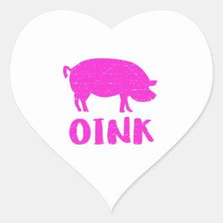 Adesivo Coração Oink porco