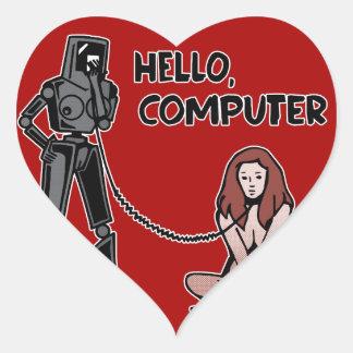 Adesivo Coração Olá!, computador