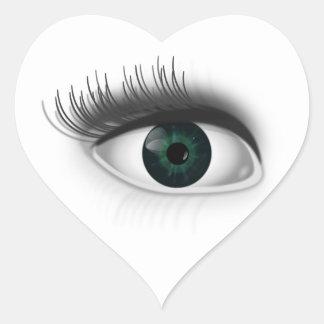 Adesivo Coração Olho verde