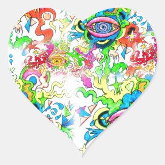 Adesivo Coração Olhos psicadélicos