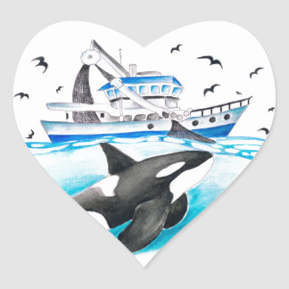 Adesivo Coração Orca e o barco