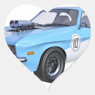 Adesivo Coração os anos 70 azuis e carro branco do músculo