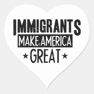 Adesivo Coração Os imigrantes fazem o excelente de América