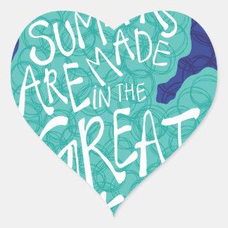 Adesivo Coração Os verões são feitos nos grandes lagos - azul
