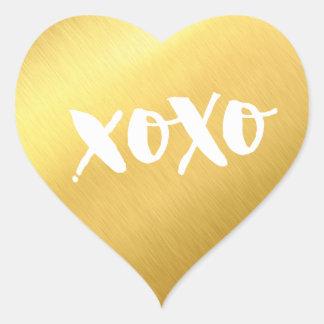 Adesivo Coração Ouro brilhante do falso moderno CHIQUE do CORAÇÃO