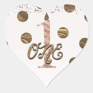 Adesivo Coração Ouro cor-de-rosa das bolinhas de bronze UM 1