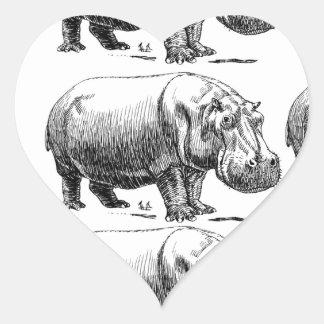 Adesivo Coração ouro do hippopotamus