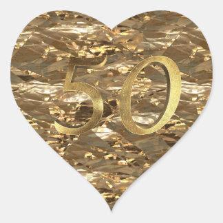Adesivo Coração Ouro elegante do aniversário de casamento dourado