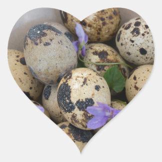 Adesivo Coração Ovos de codorniz & flores 7533