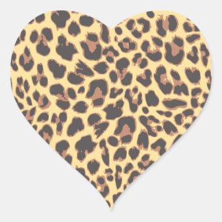 Adesivo Coração Padrões da pele animal do impressão do leopardo