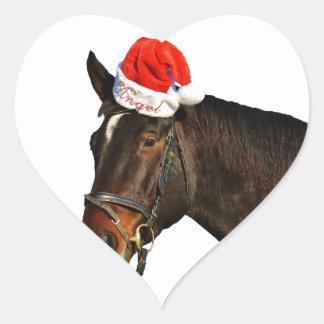 Adesivo Coração Papai noel do cavalo - cavalo do Natal - Feliz