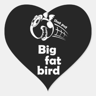Adesivo Coração Pássaro psto tiro gordo grande