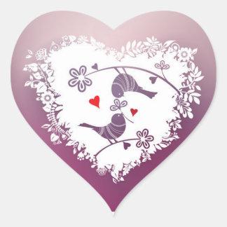 Adesivo Coração Pássaros bonitos do amor com dia dos namorados dos
