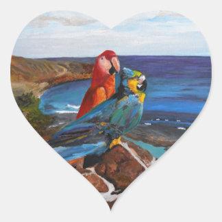 Adesivo Coração Pássaros tropicais que negligenciam a baía