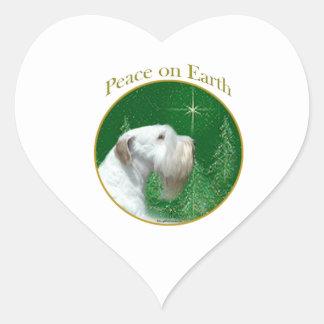 Adesivo Coração Paz de Sealyham Terrier na terra