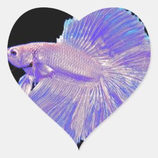 Adesivo Coração Peixes de combate roxos iridescentes
