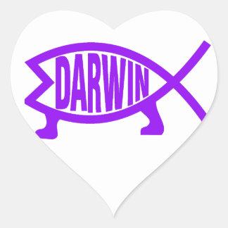 Adesivo Coração Peixes originais de Darwin (roxos)