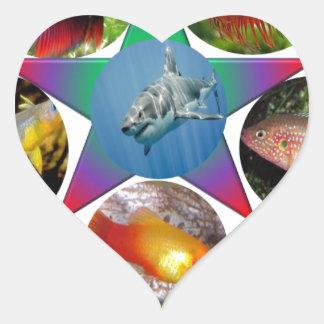Adesivo Coração peixes, peixe dourado, carpa, pesca, mar, oceano,