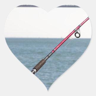 Adesivo Coração Pesca Rod no cais em San Francisco Bay