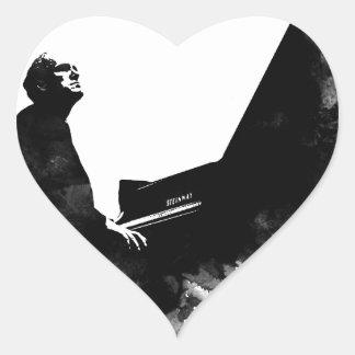 Adesivo Coração pianista