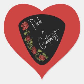 Adesivo Coração Picareta da guitarra - escolha rosas vermelhas