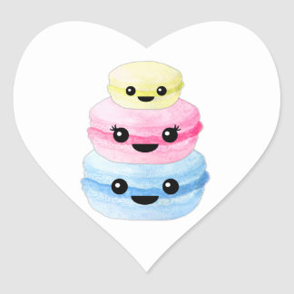 Adesivo Coração Pilha bonito de Kawaii Macaron