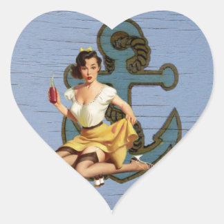 Adesivo Coração Pin náutico da âncora da praia acima do marinheiro