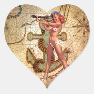 Adesivo Coração Pin náutico da âncora do mapa do vintage acima do