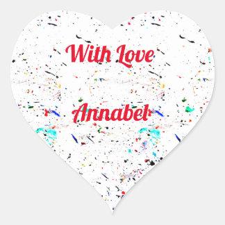 Adesivo Coração Pinte espirra e mancha o teste padrão com amor