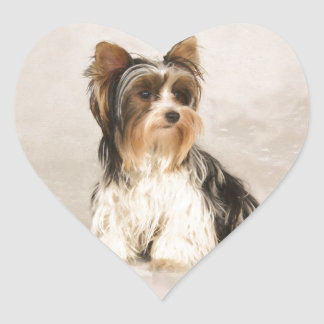 Adesivo Coração Pintura da senhorita Mia Foto de Yorkie do retrato