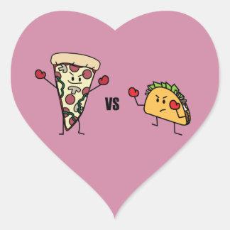 Adesivo Coração Pizza de Pepperoni CONTRA o Taco: Mexicano contra