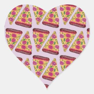 Adesivo Coração pizza floral