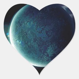 Adesivo Coração planeta verde no universo com aura e estrelas