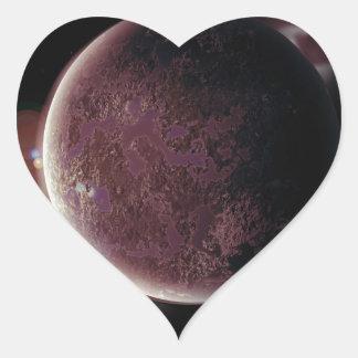 Adesivo Coração planeta vermelho no universo com aura e estrelas