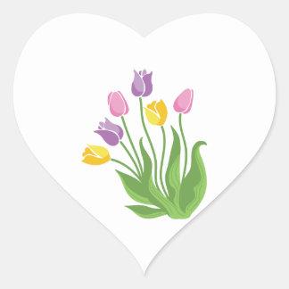 Adesivo Coração Planta das tulipas