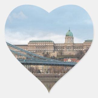 Adesivo Coração Ponte Chain com castelo Hungria Budapest de Buda