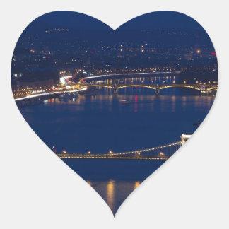Adesivo Coração Ponte Chain Hungria Budapest na noite